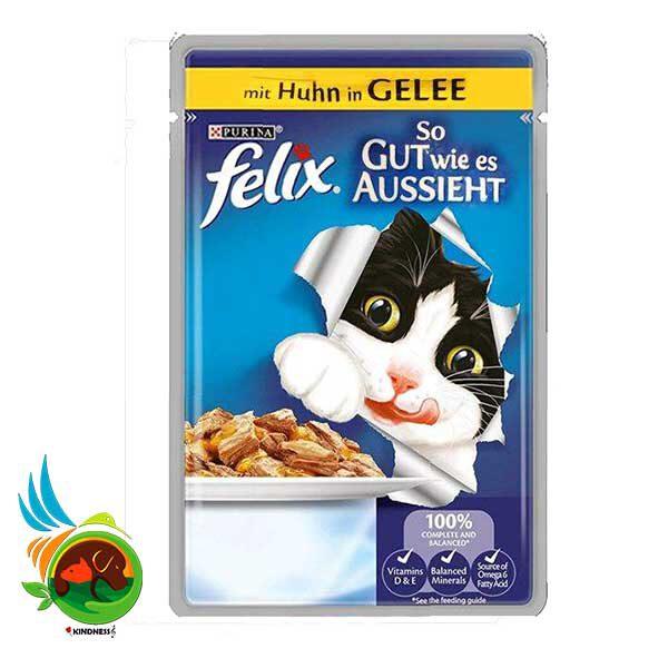 پوچ ژله ای فلیکس با طعم مرغ