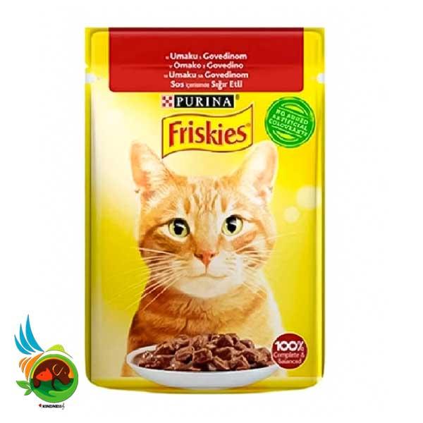 پوچ گربه فریسکیز با طعم گوشت