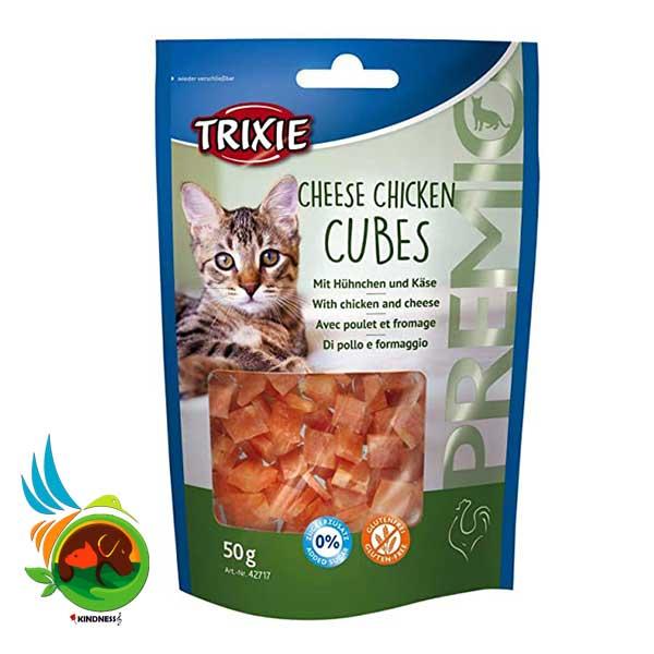 تشویقی گربه مرغ و پنیر تریکسی Cheese Chicken Cubes