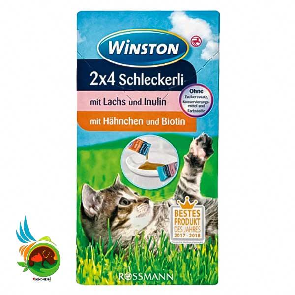 بستنی گربه وینستون با طعم سالمون و مرغ بسته 8 عددی